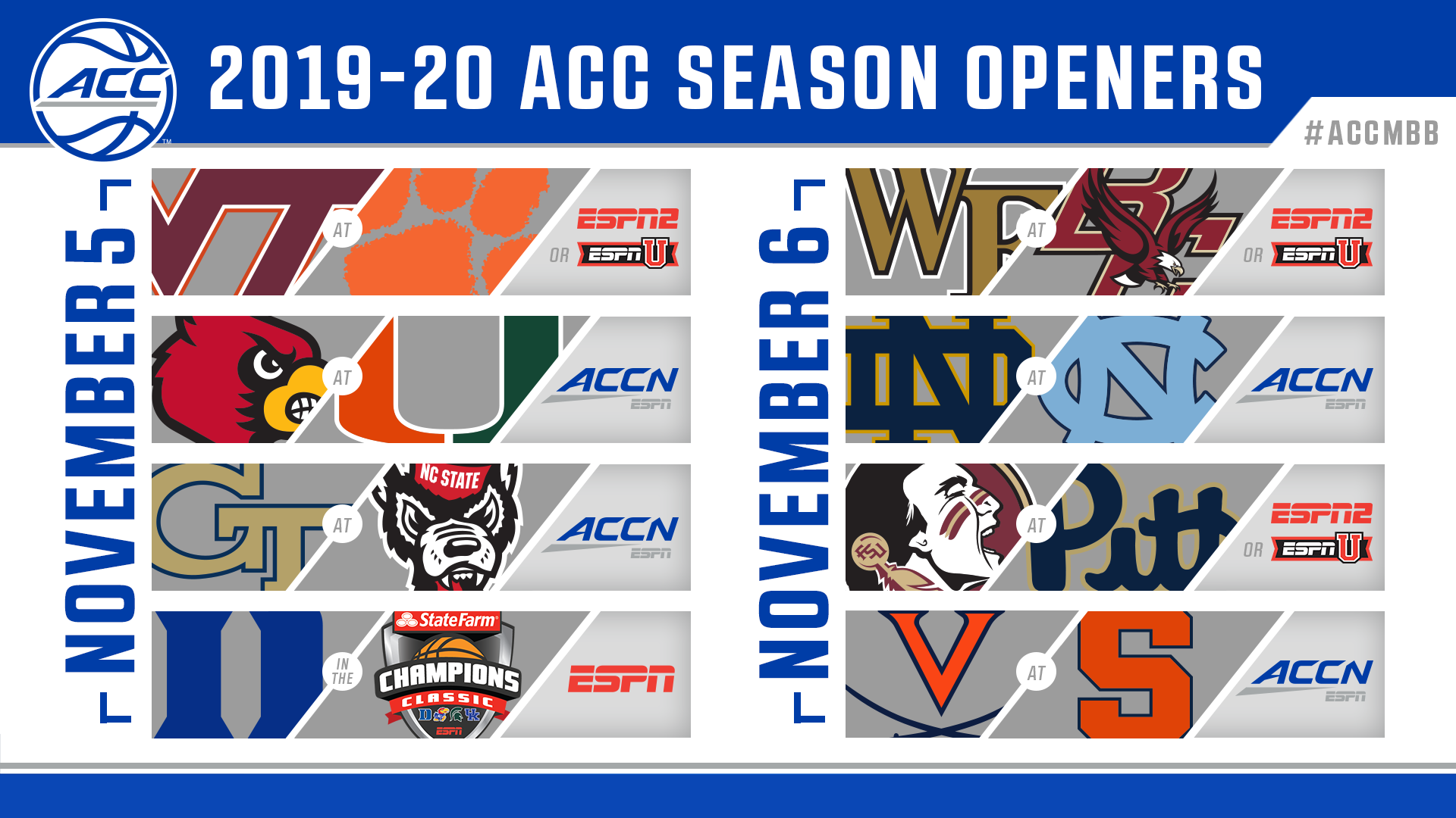 picture regarding Printable Acc Men's Basketball Schedule known as ACC Announces 2019-20 Year-Opening Basketball Online games