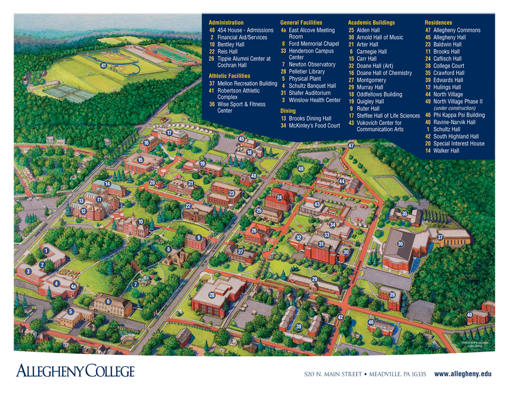 Campus Map/Directions   Allegheny College Athletics