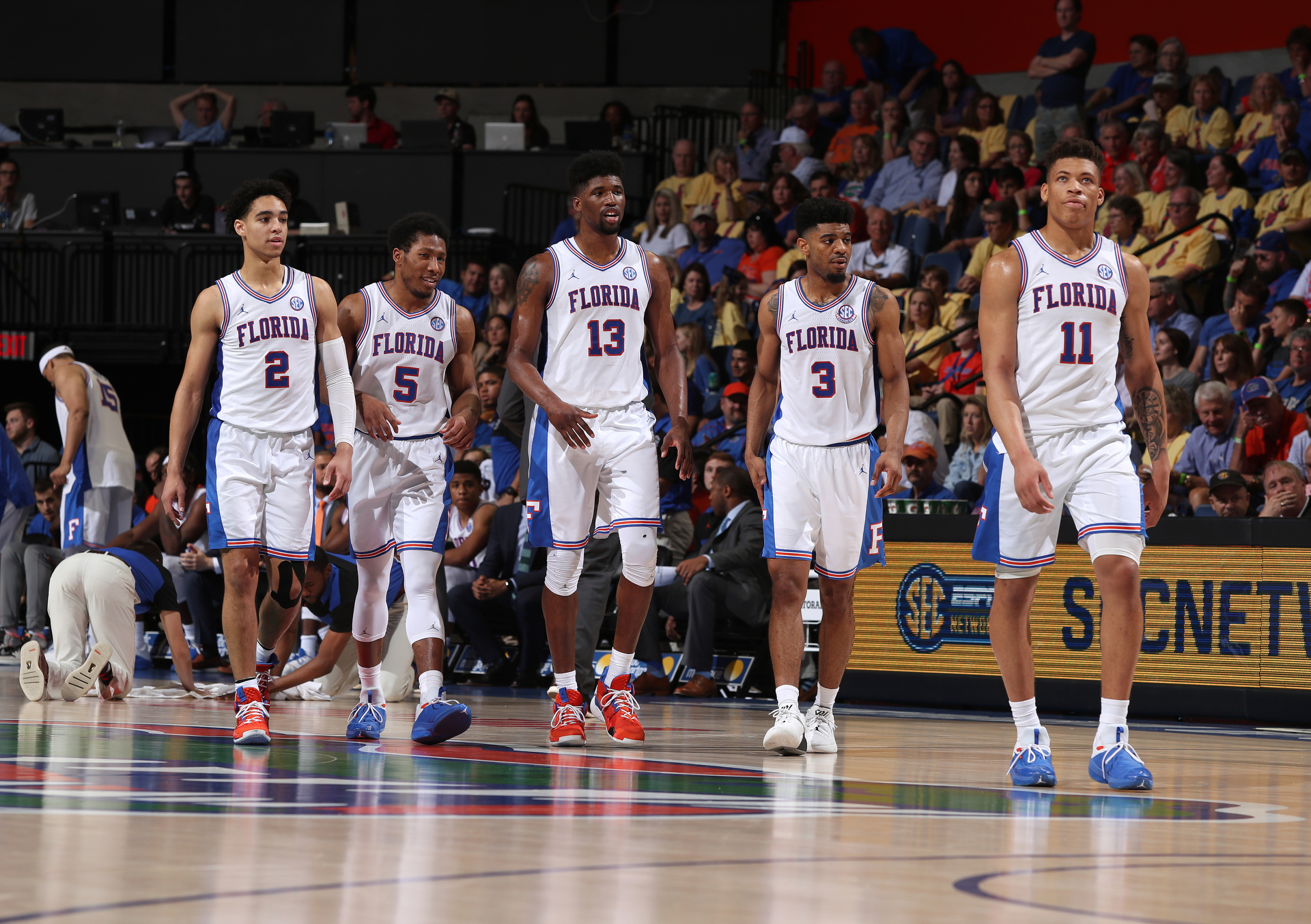 4a4a59f093a The Gators (from left: Andrew Nembhard, Kevaughn Allen, Kevarrius Hayes,  Jalen Hudson and Keyontae Johnson) looked pretty good in their throwback  1994 ...