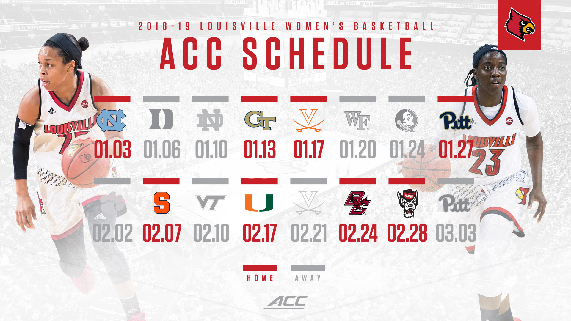 2018-19 conference schedule released - university of louisville