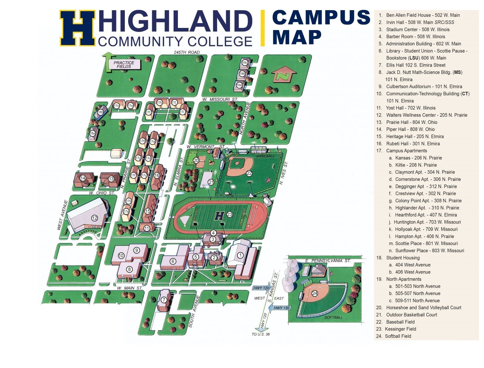 Campus Map Highland Community College Athletics