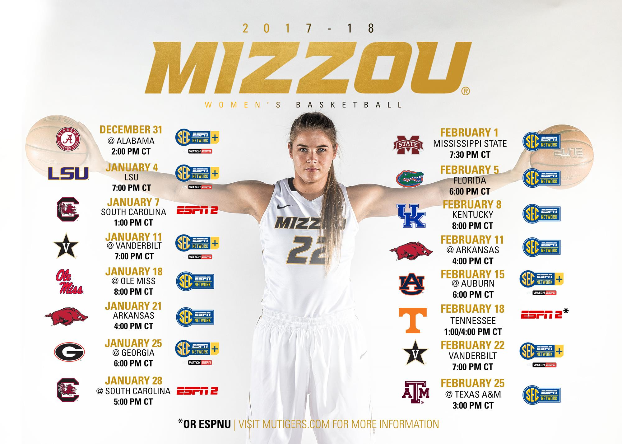 tv & game times set for 's sec schedule - university of missouri