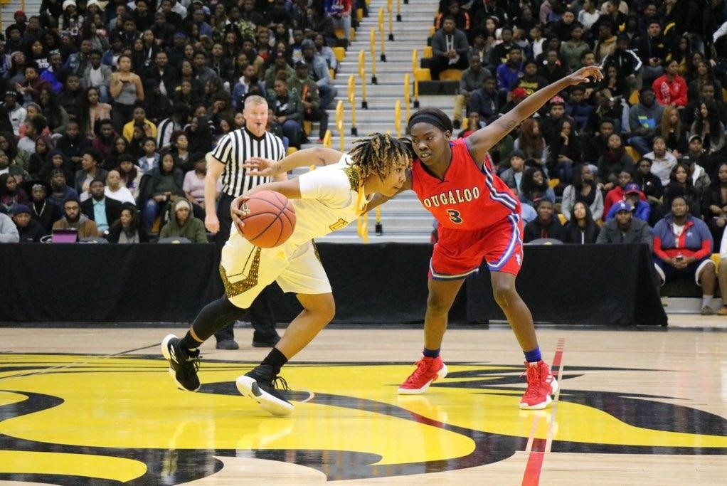 Point guard Kyeonia Harris finished with a game-high 15 points in the win vs. Tougaloo.
