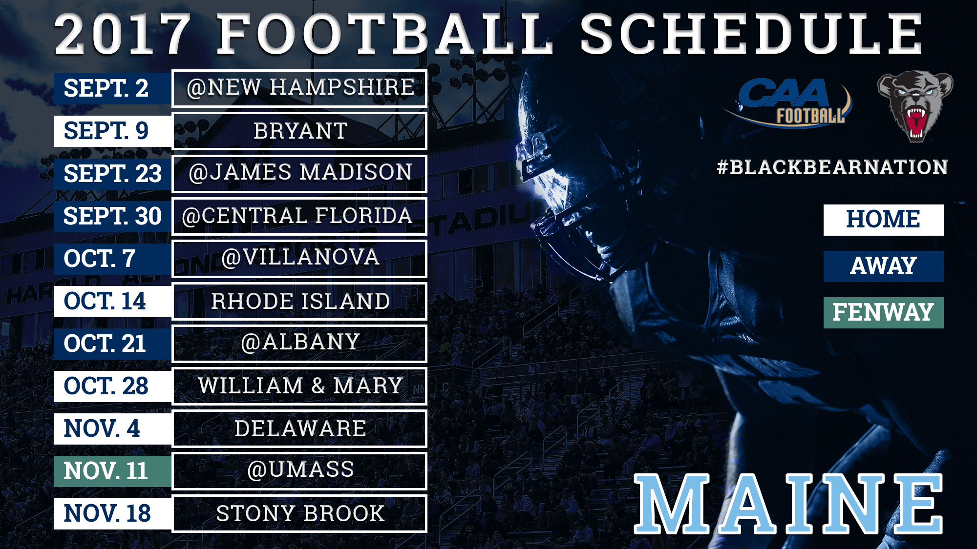 football announces 2017 schedule - university of maine athletics