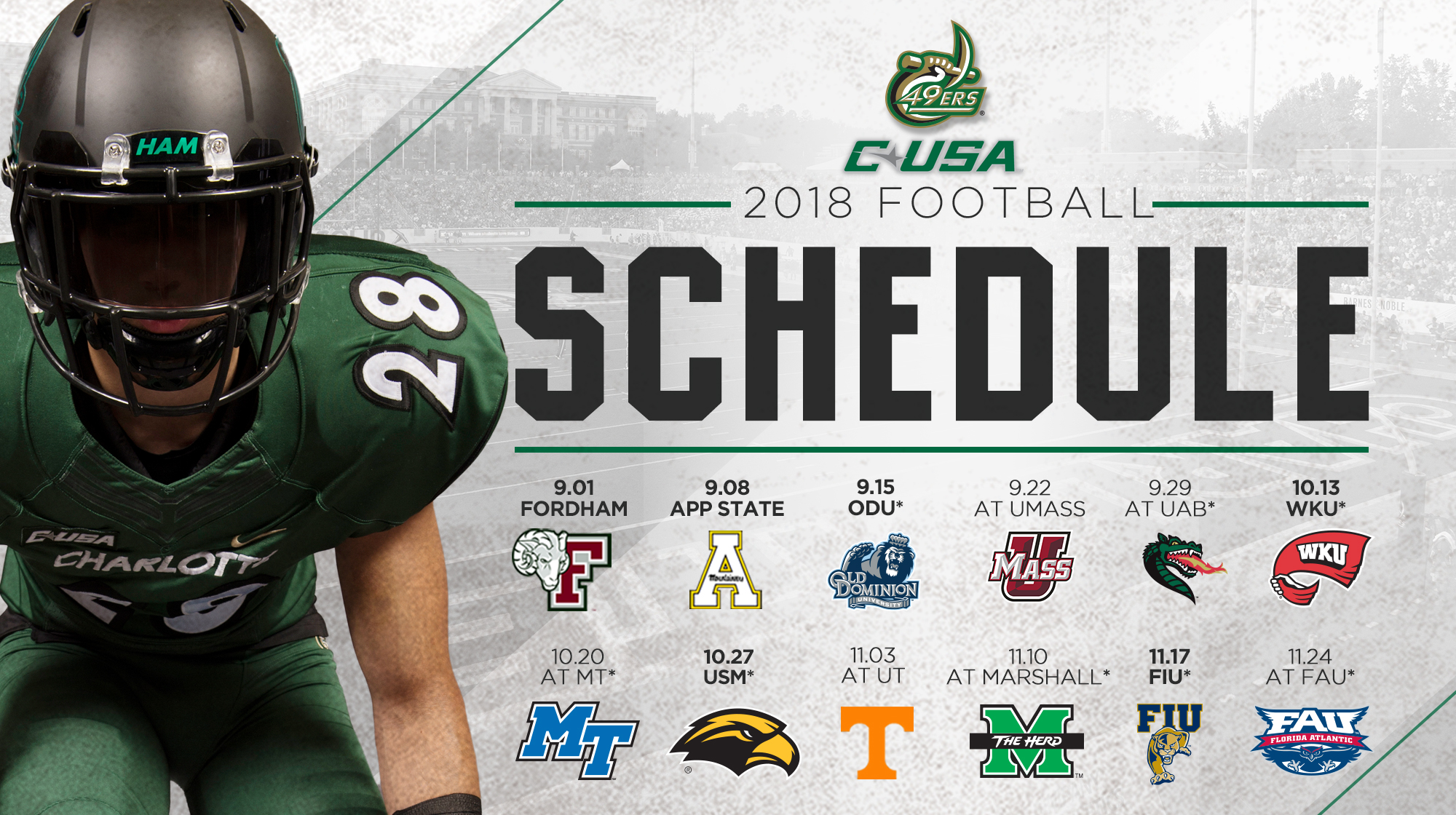 eight bowl teams highlight 2018 football slate - unc charlotte athletics