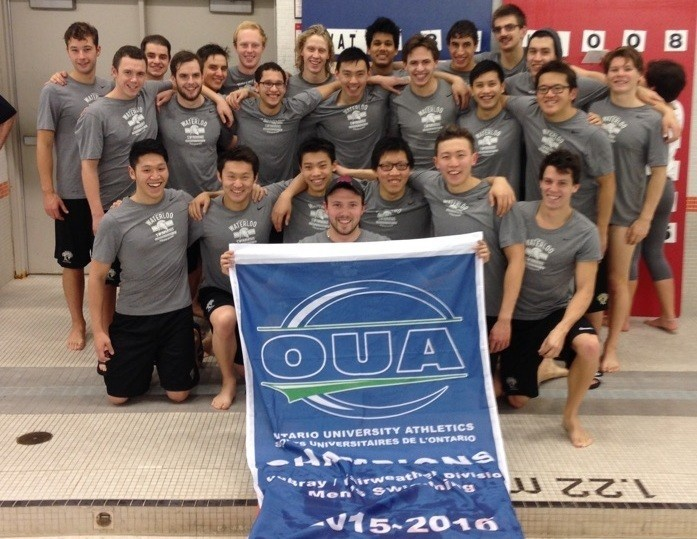 Men 39 S Swimming Team Captures Debray Divisional Championship University Of Waterloo