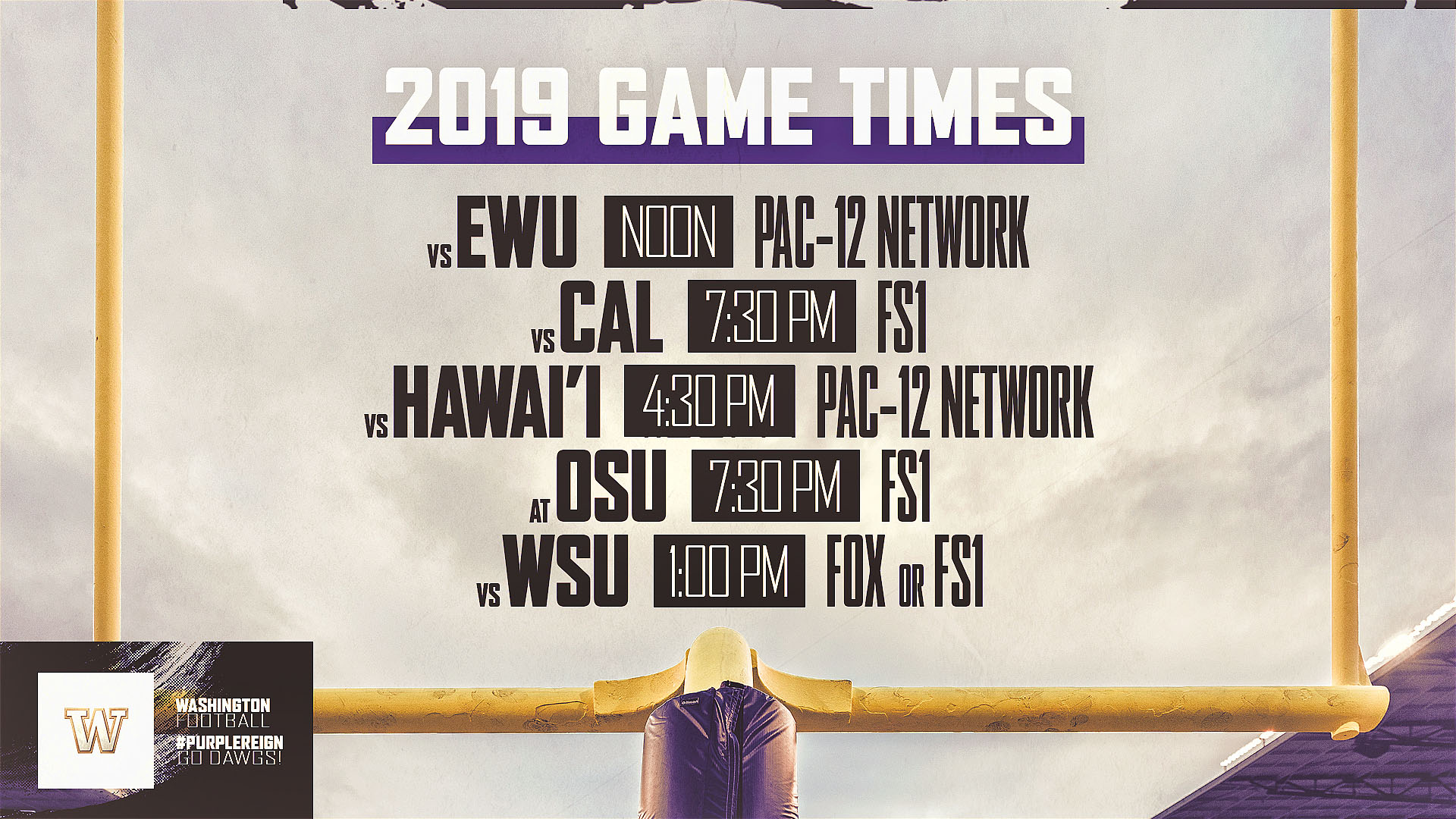 Huskies Football Schedule 2019 Times And TV Announced For Five UW Football Games   University of