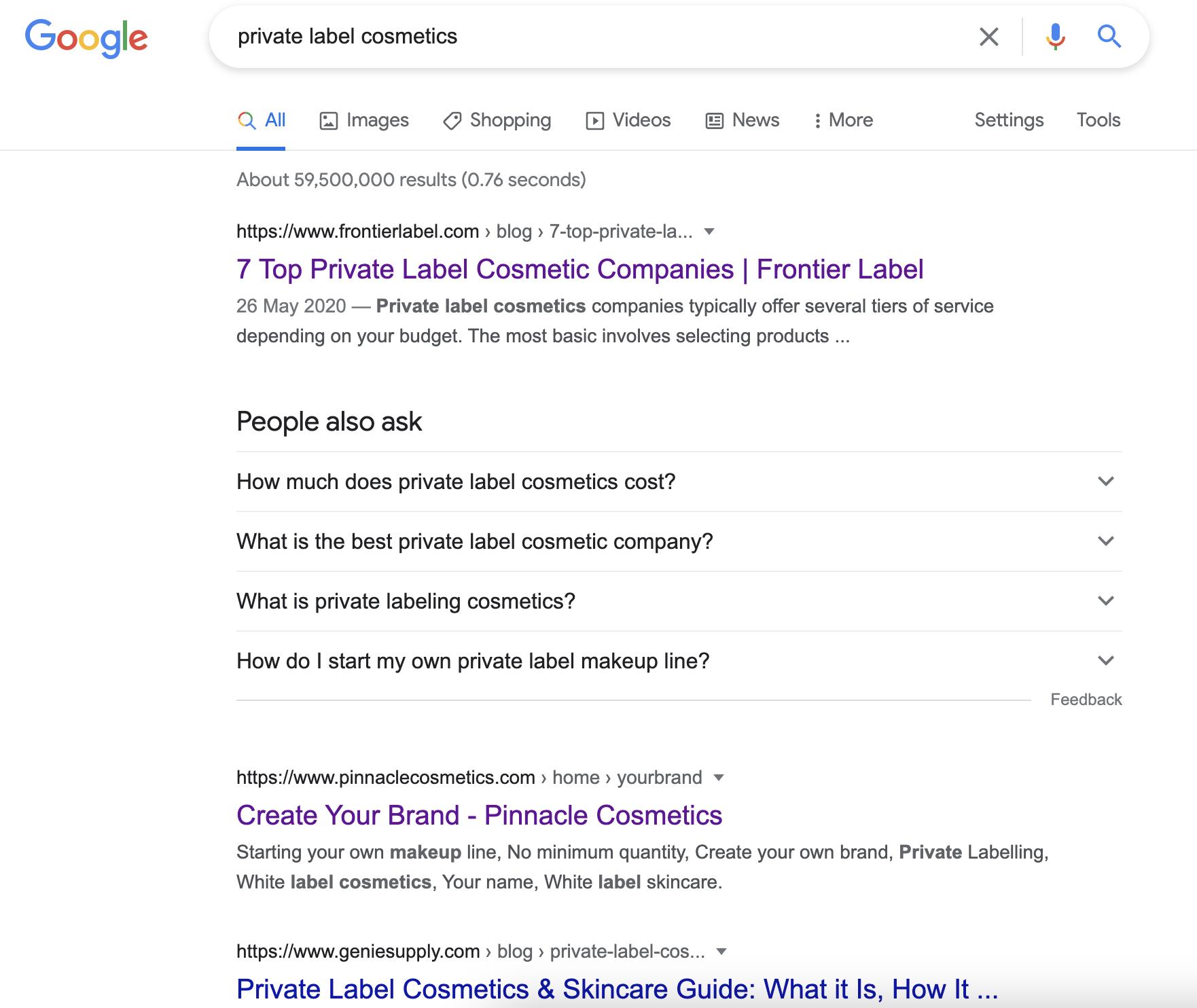 google searach for private label cosmetics