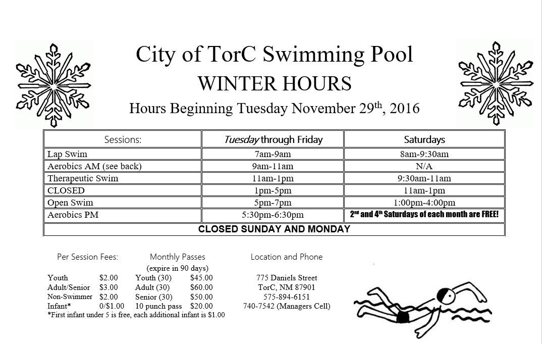 Truth or Consequences City Pool Hours