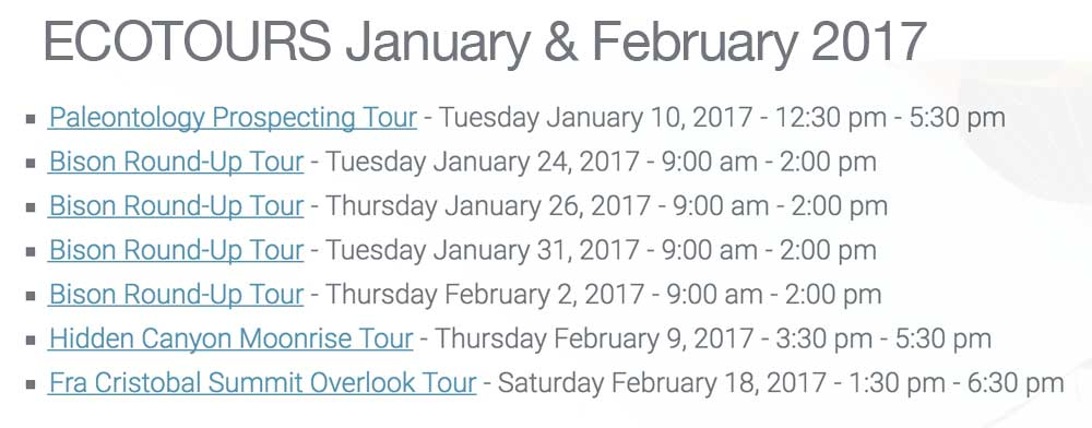 ecotours to the Turner Ranch available in January and February 2017