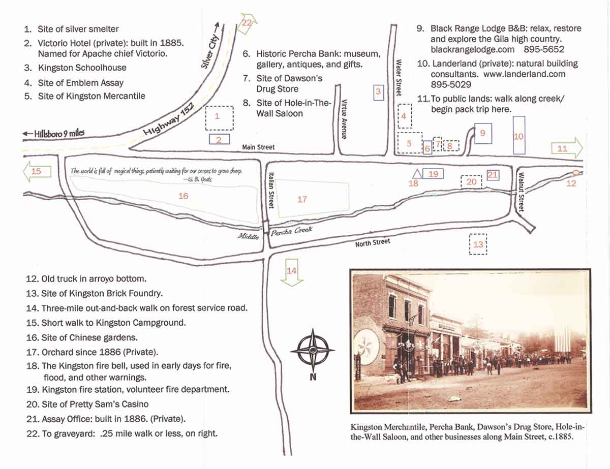 Walking Map of Kingston New Mexico