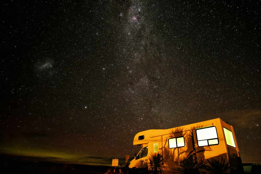 RV parked under a starry sky in Sierra County New Mexico