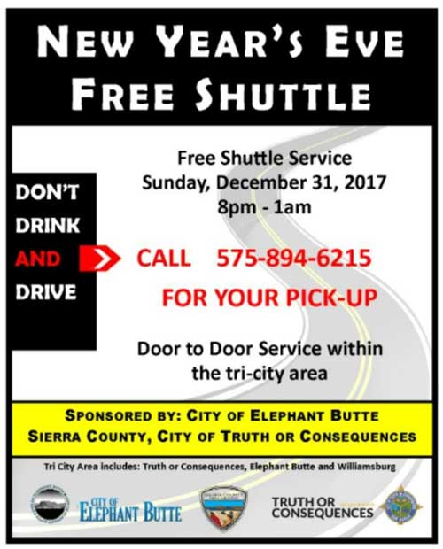 fre shuttle on New Years Eve - don't drink and drive