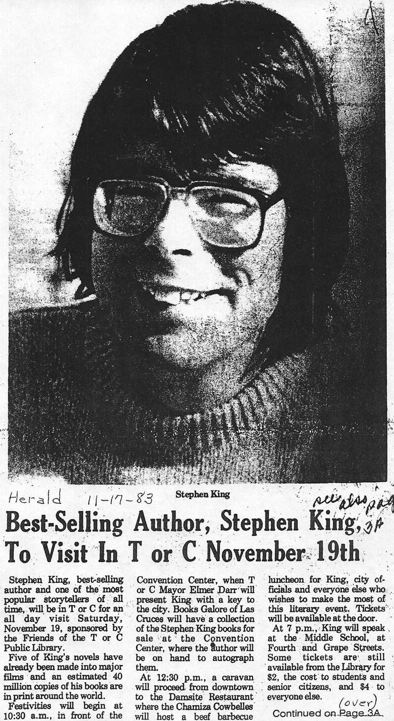Herald article on Stephen King