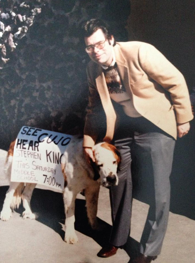 Stephen King with a St. Bernard in Truth or Consequences New Mexico