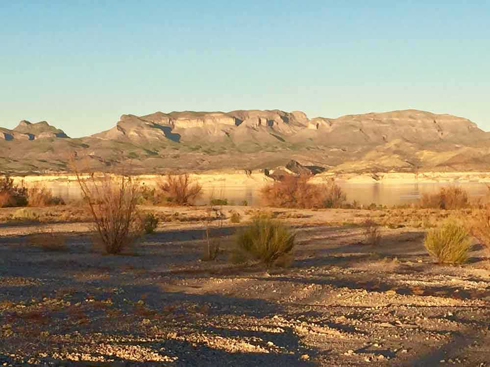 Fra Cristobal mountains from at Elephant Butte Lake