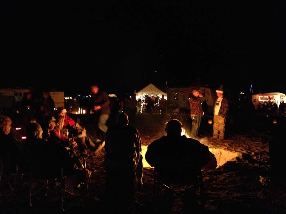 Luminaria Beachwalk bonfire, Elephant Butte New Mexico, 2nd Saturday in December