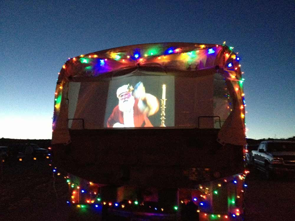 Santa Claus at the Luminaria Beachwalk in Elephant Butte New Mexico, 2nd Saturday in December