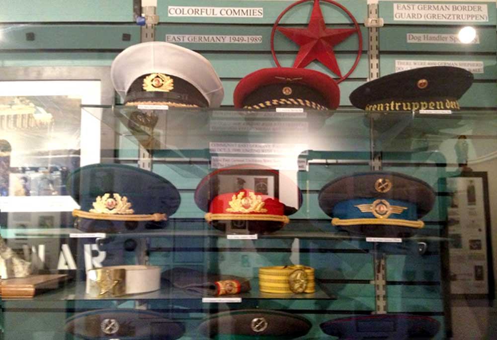 display of military caps at Veterans Memorial Park, Truth or Consequences New Mexico