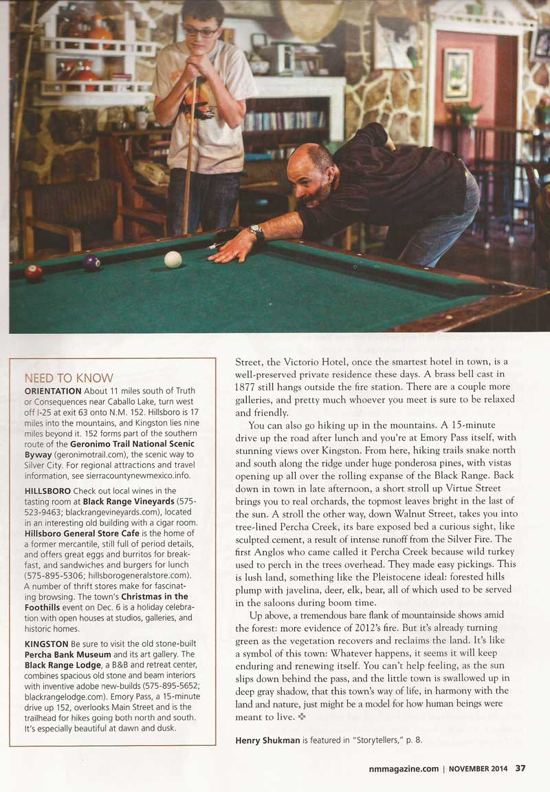 November 2014 New Mexico Magazine article on Hillsboro New Mexico