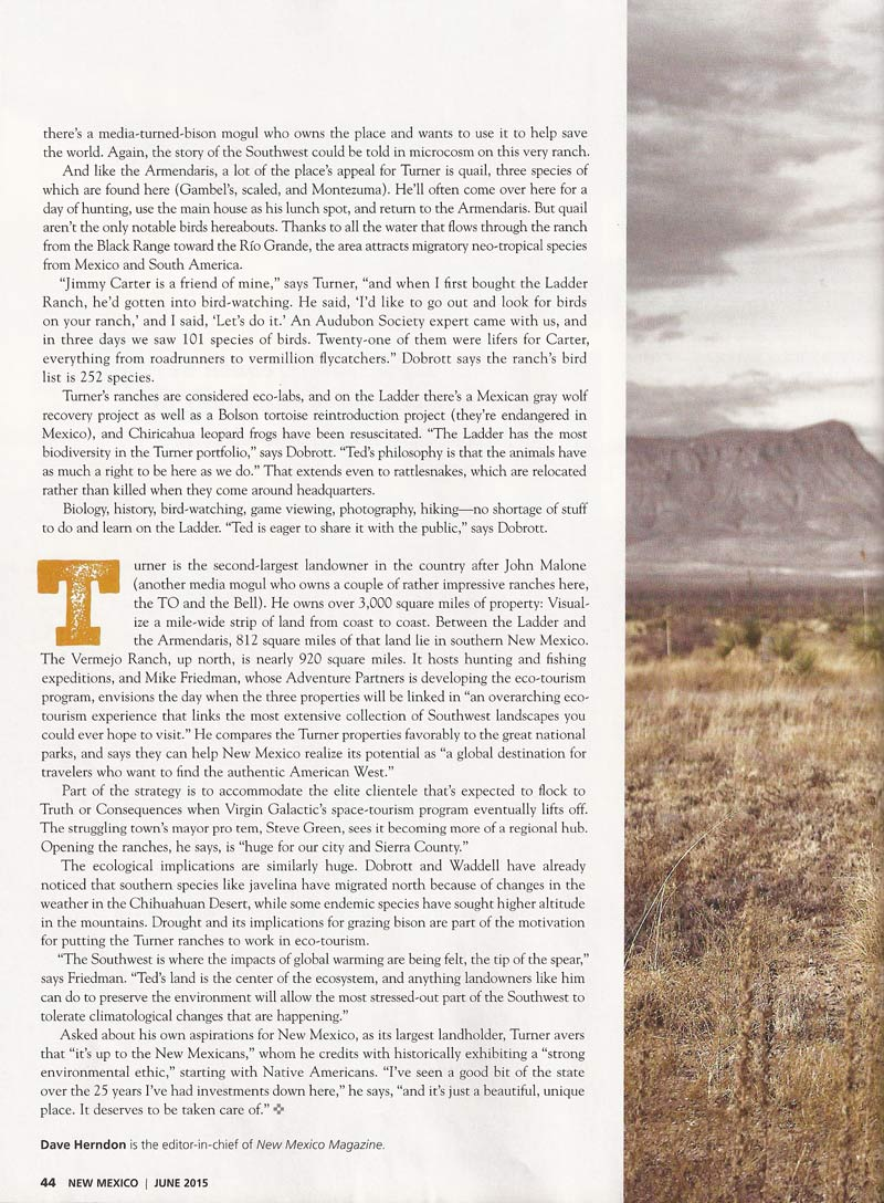 New Mexico Magazine - Ted Turner Ecotours