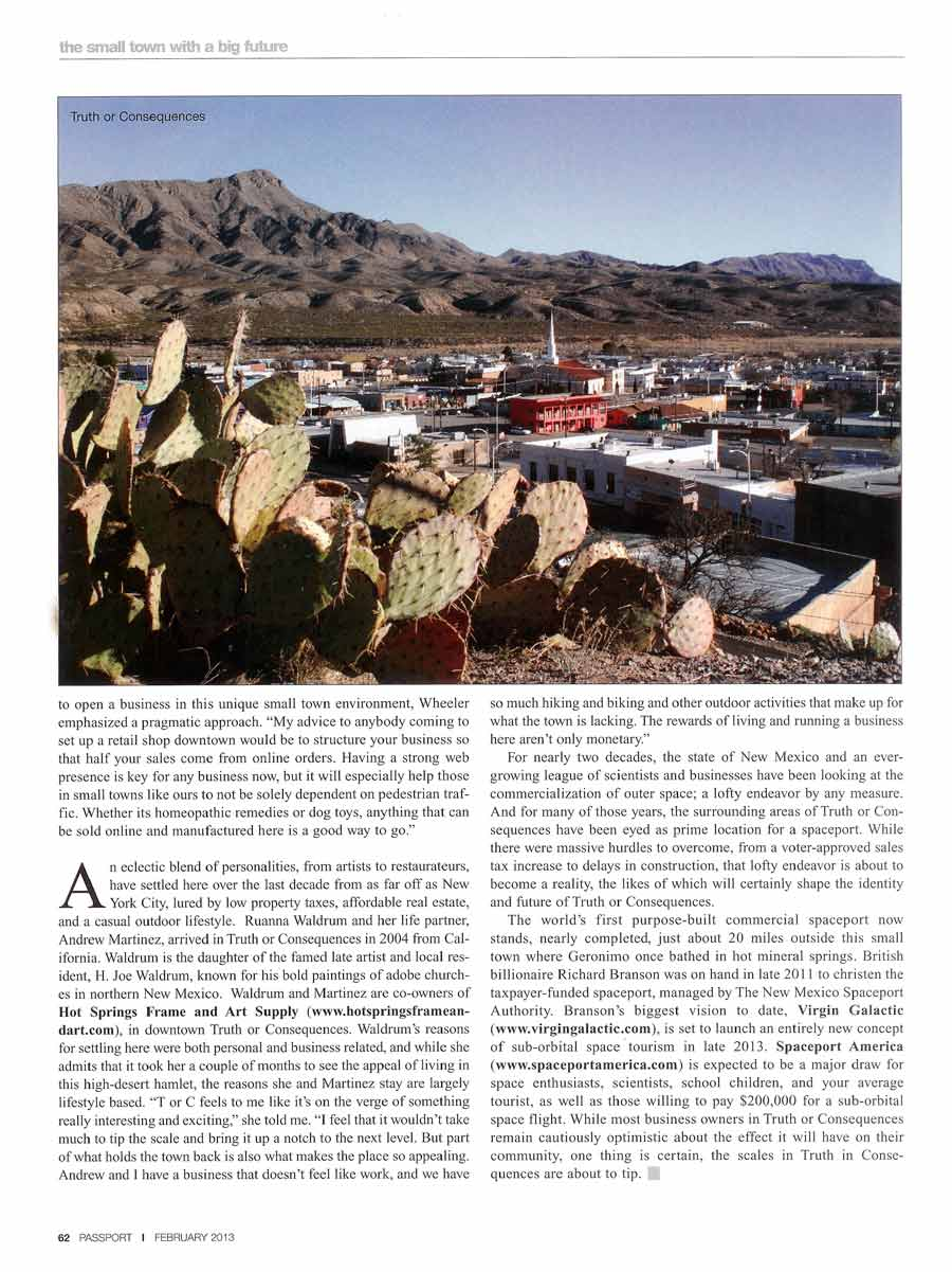 Passport Magazine on Truth or Consequences NM, 2013