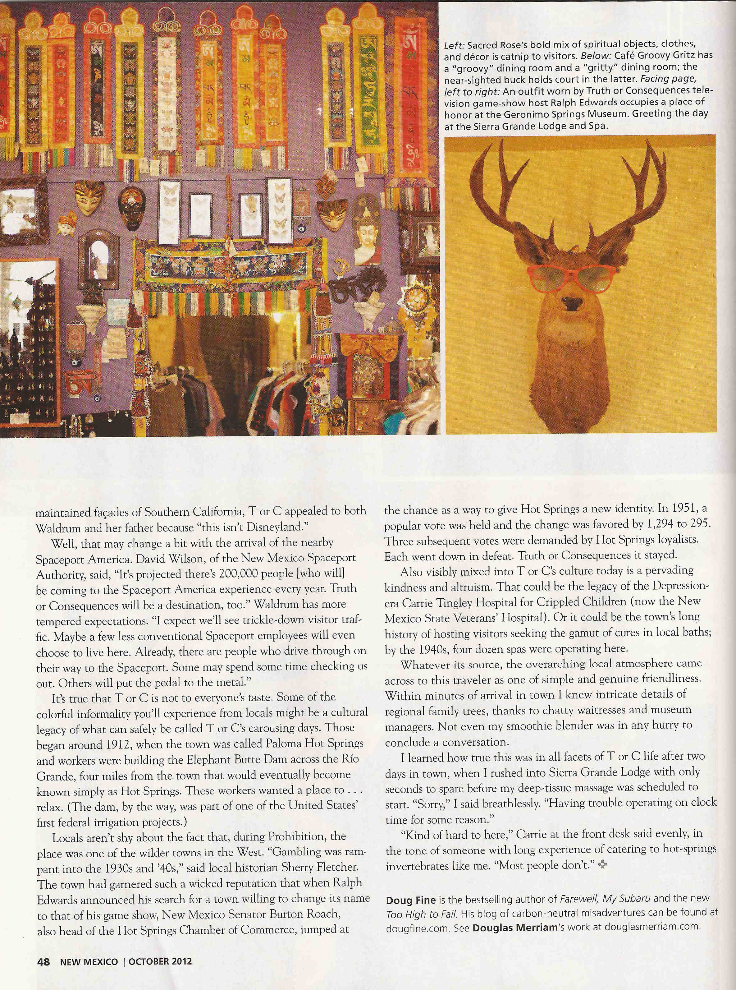 Truth or Consequences in New Mexico Magazine October 2012
