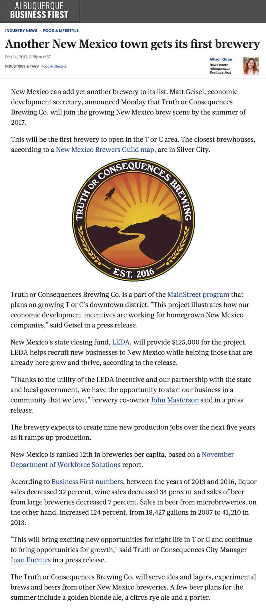 new brewery in Truth or Consequences
