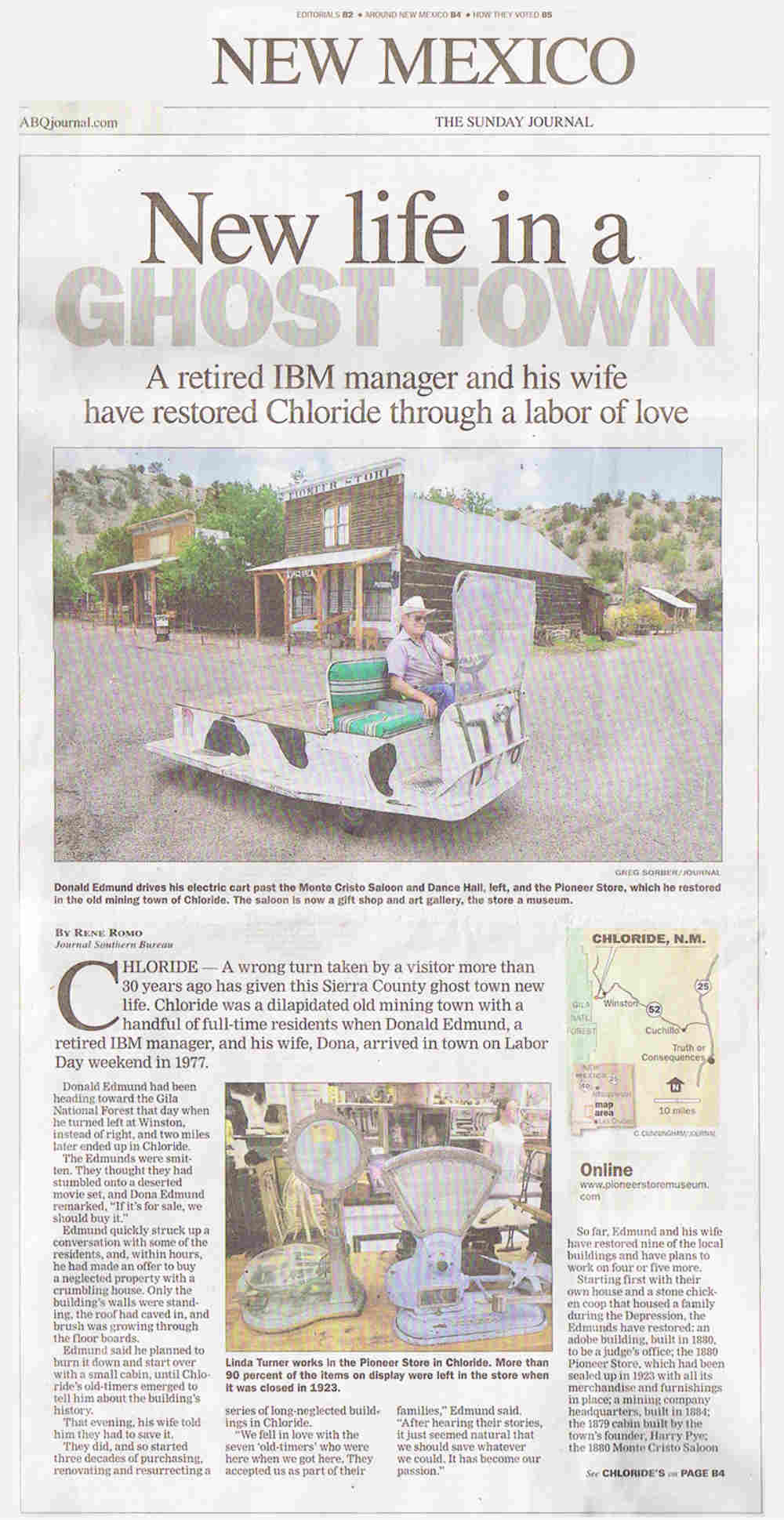 New Life in a Ghost Town - Albuquerque Journal visit Chloride NM