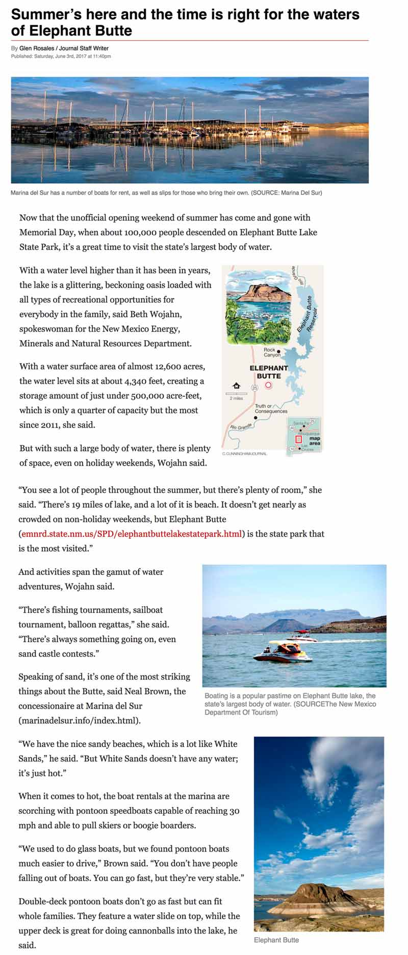 Albuquerque Journal article on Elephant Butte New Mexico