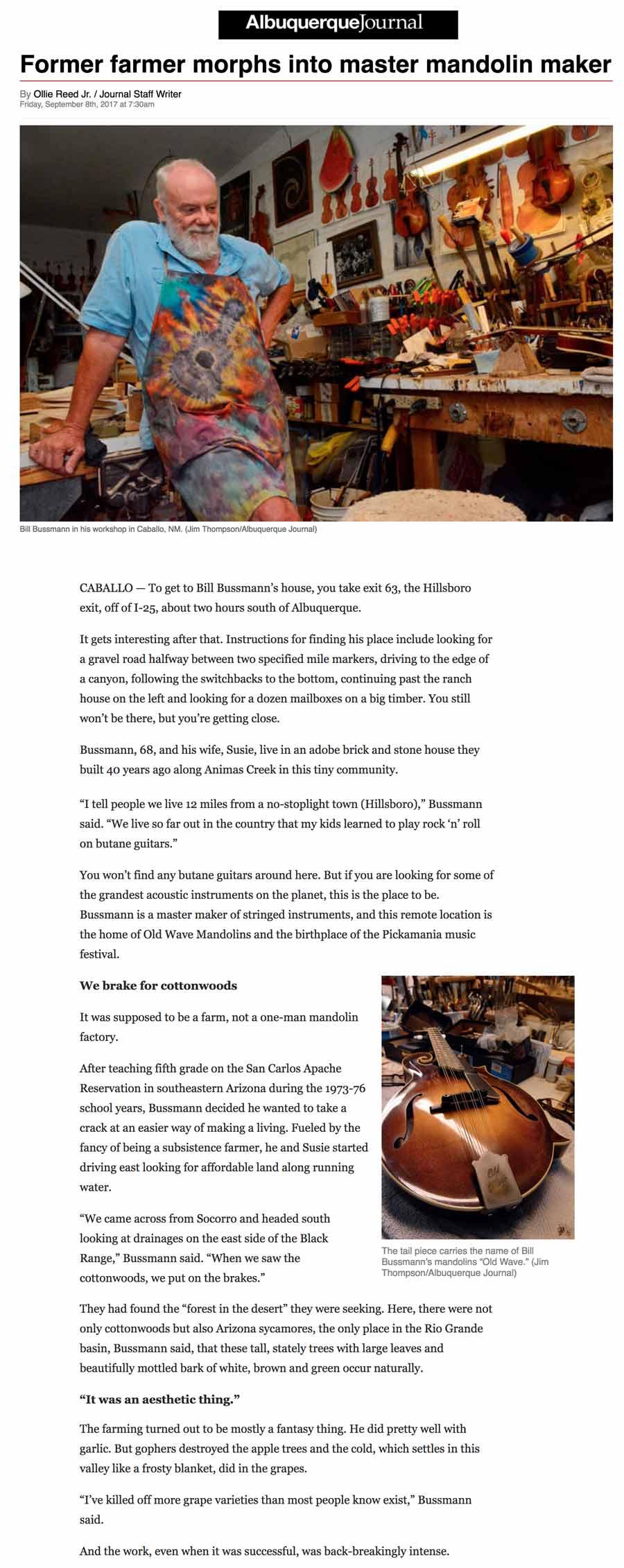 Mandolin Maker Bill Bussman, Albuquerque Journal