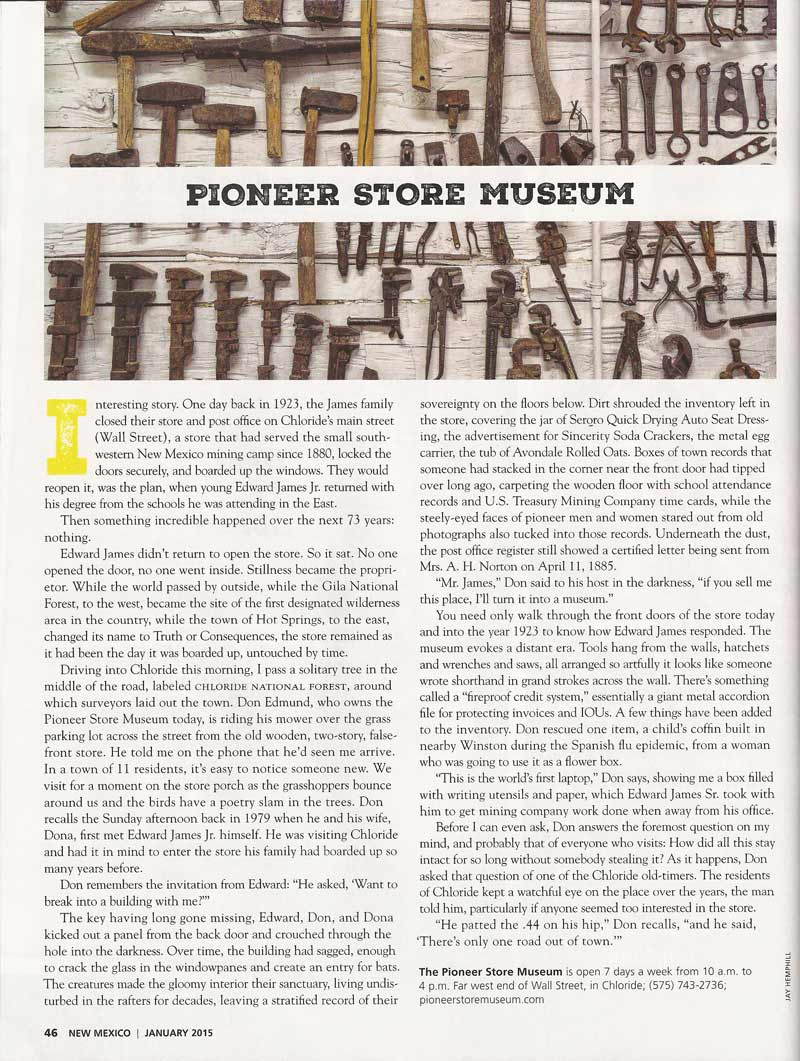 Pioneer Store Museum in New Mexico Magazine January 2015
