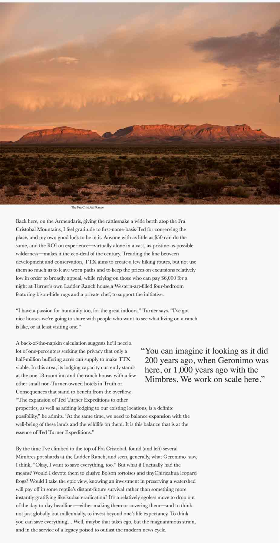 Conservationist Ted Turner wants to save everything and has put his money where his mouth is in Sierra County New Mexico
