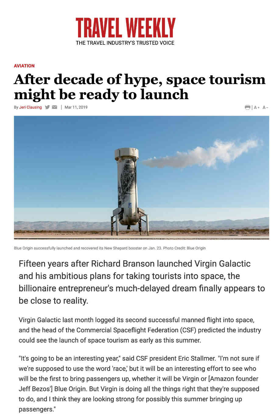 Travel Weekly on Space Tourism launching out of Spaceport America near Truth or Consequences NM