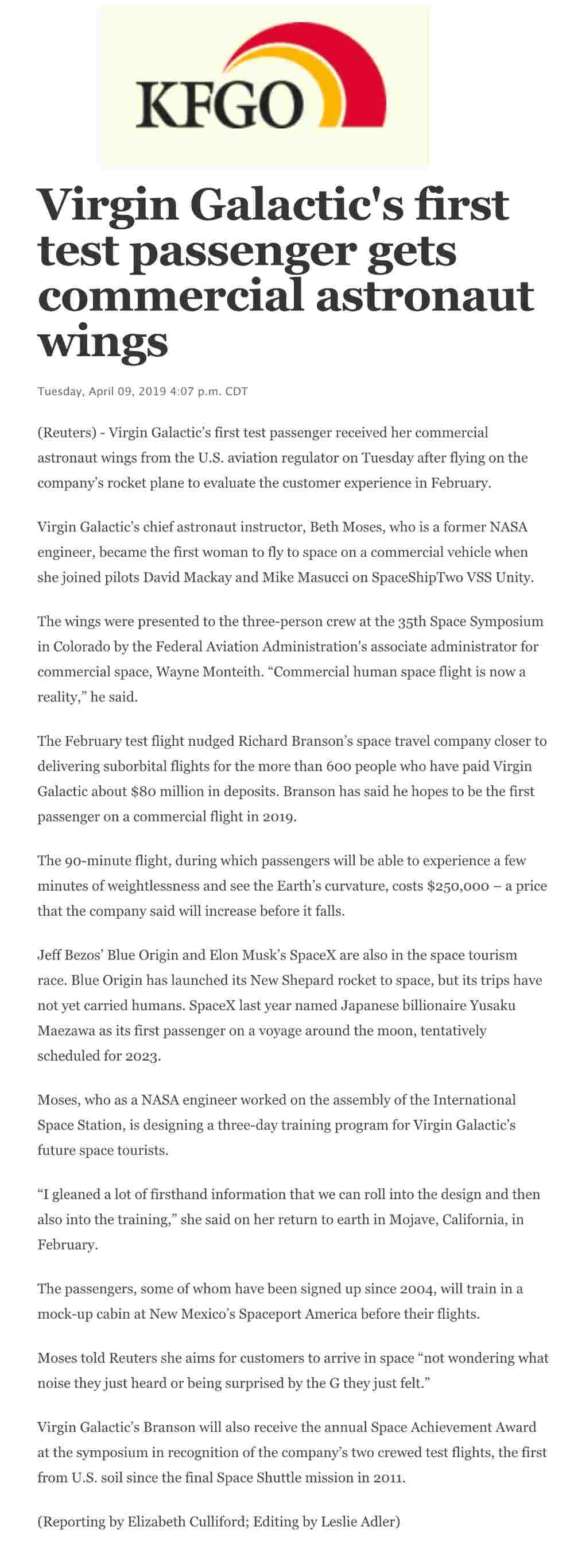 Beth Moses of Virgin Galactic gets astronaut wings