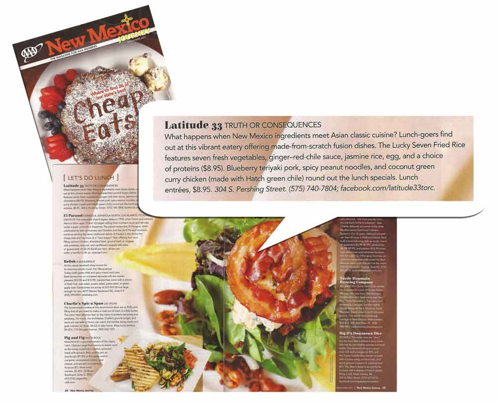 AAA Magazine on Latitude 33 in its Cheap Eats issue, 2017