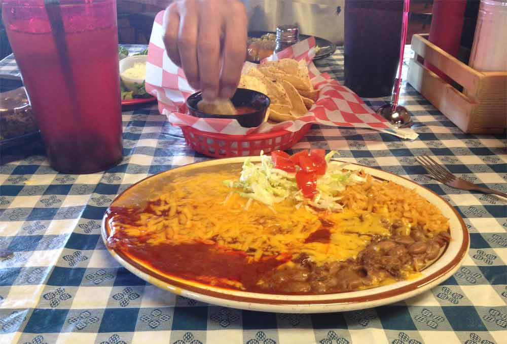 cheese enchiladas with red chile and green chile at Johnny B's in Truth or Consequences New Mexico