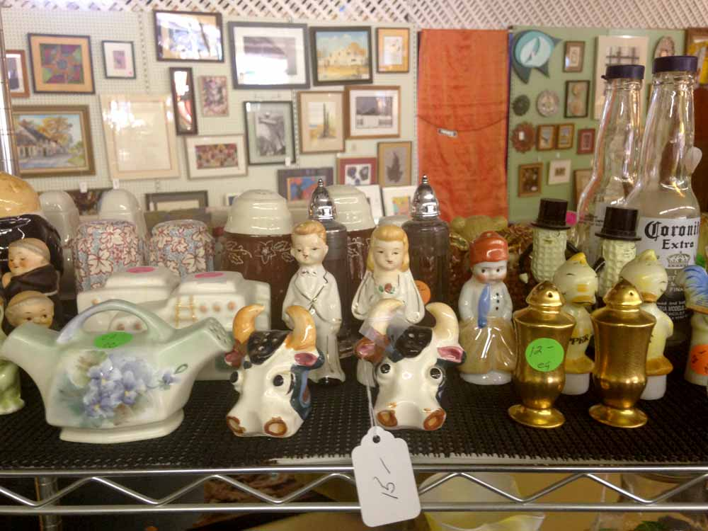 more salt shakers at January's Collectibles and Antiques
