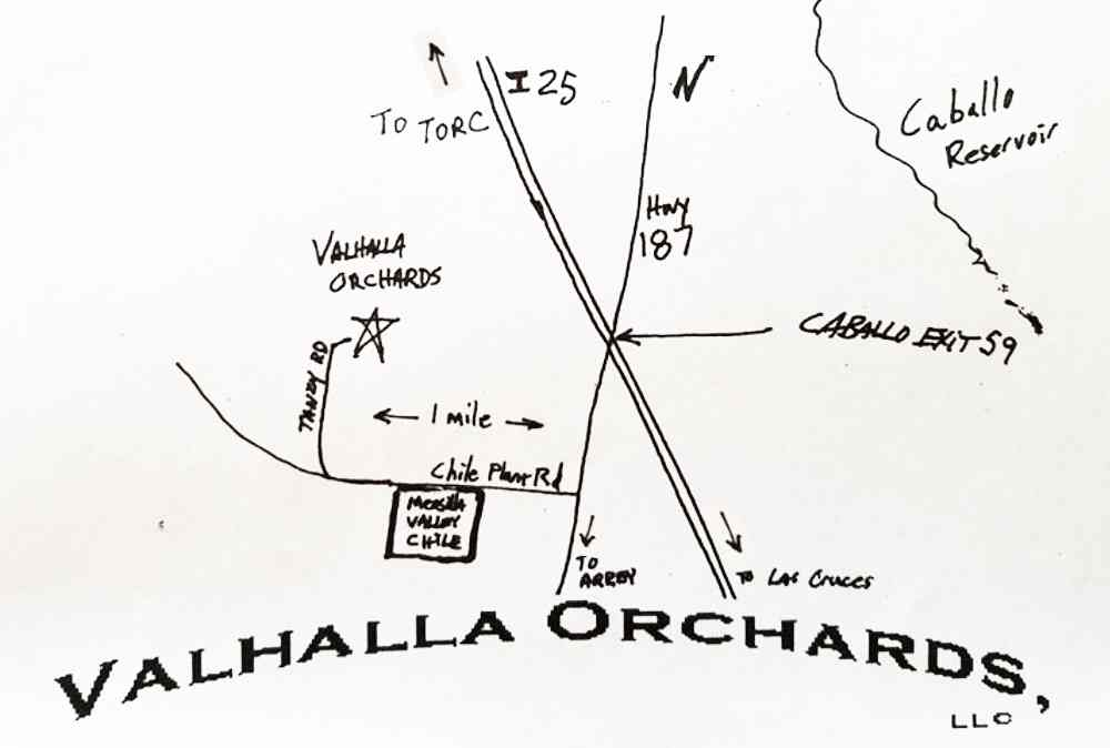 map showing directions to Valhalla Orchards in Arrey NM