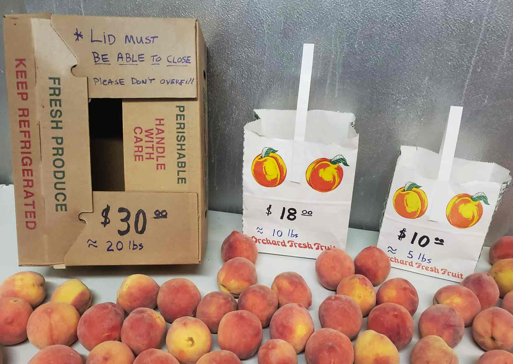 2019 pricing for peaches from Valhalla Orchards
