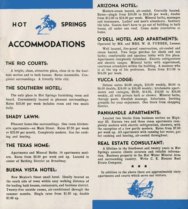 Motor Courts and Hotels in the 1940s - Hot Springs New Mexico, City of Health