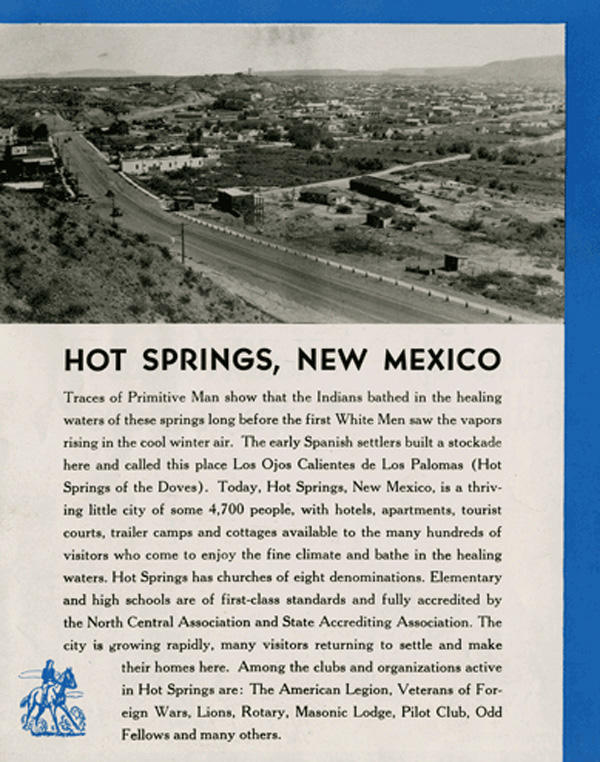 introduction to a vintage brochure Hot Springs New Mexico, City of Health