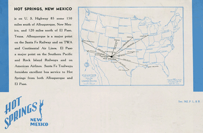 map of vintage brochure for Truth or Consequences New Mexico (then called Hot Springs New Mexico, City of Health)