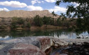 RIo Grande with Turtle Mountain and rock pool