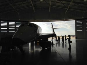 Spaceport America - silhouettes in the hangar