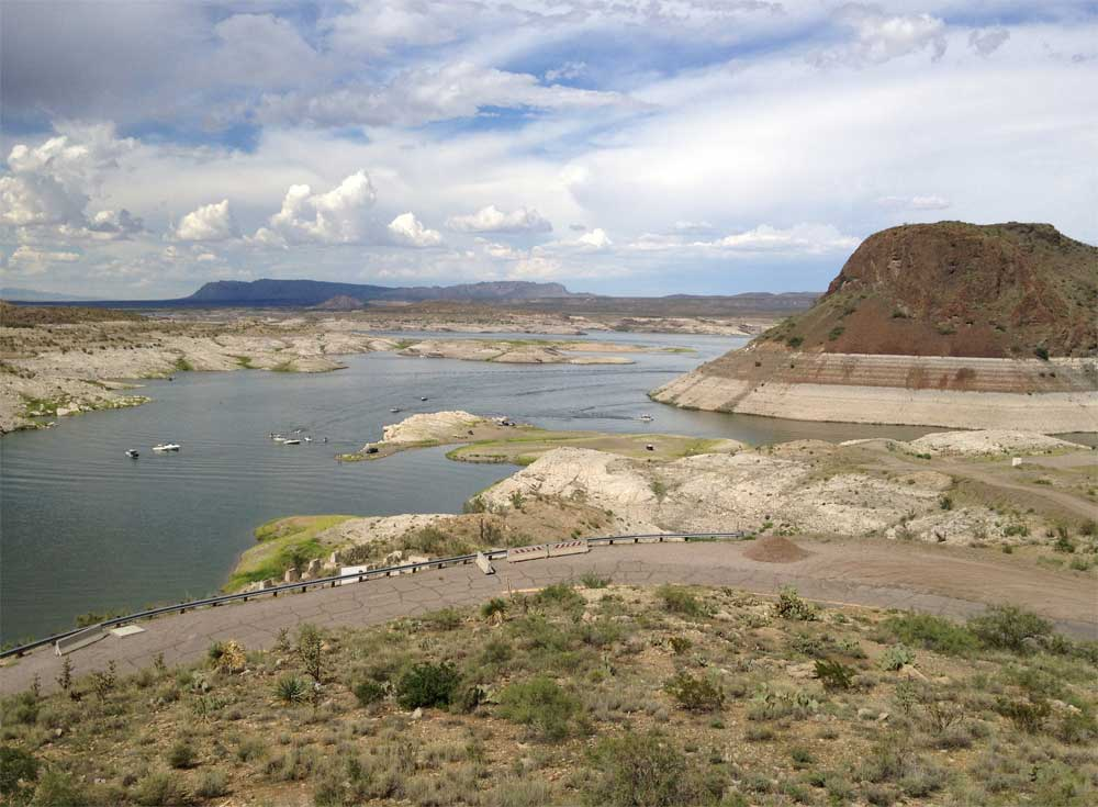 Elephant Butte Dam overlook with boat