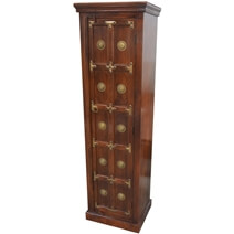 Antique Heritage Brass Accents Wood Storage Cabinet Armoire