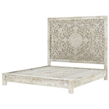 Calistoga Rustic Solid Wood Platform Bed With Moroccan Style Headboard