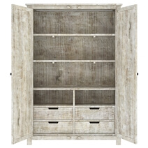 Calistoga Handcarved Weathered Solid Wood Large White Wardrobe Armoire