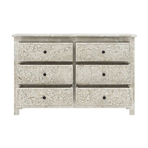 Calistoga Handcarved Solid Wood 6 Drawer White Bedroom Dresser